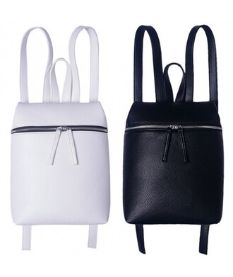 bag black white cool trendy fashion style backpack faux leather back to school it girl shop