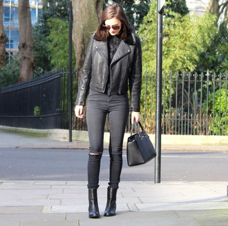 peexo blogger black jeans perfecto leather jacket black boots