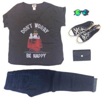 shirt top v neck sunglasses clutch dont worry be happy quote on it