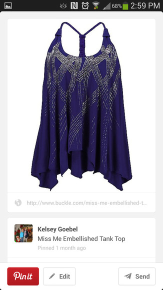 racerback tank top blouse beaded royal blue