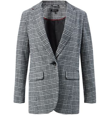 Black Check Single Button Blazer