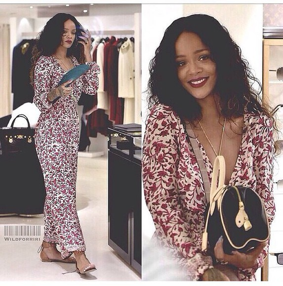dress floral dress long sleeve dress floral print dresses rihanna rihanna style