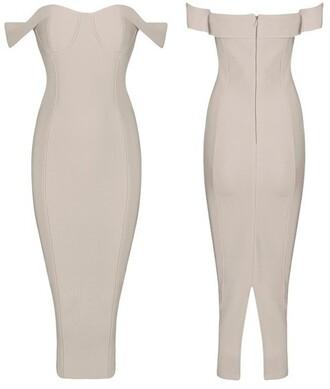 dress elegant off the shoulder knee length dress bodycon