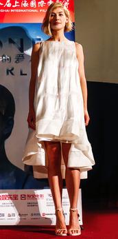 dress,midi dress,rosamund pike,sandals,summer dress,asymmetrical