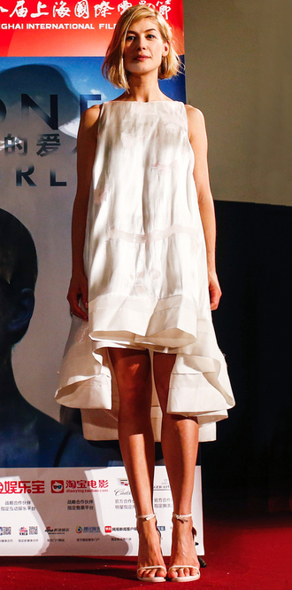 dress midi dress rosamund pike sandals summer dress asymmetrical