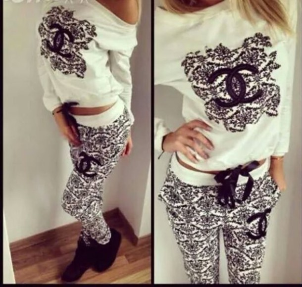 jumpsuit pants top blouse athletic sportswear gym clothes white black sportswear pajamas