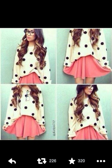 skirt clothes sweater pink skirt polka dots