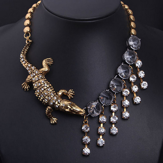 Fashion women's crocodile rhinestone tassel necklace_13.74