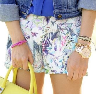 shorts tropical tropical shorts exotic denim vest vest jean vest bag yellow jewels gold watch gold watch bracelets top blue clothes summer