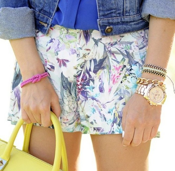 jewels vest bag clothes jean vest denim vest top shorts tropical print tropical tropical shorts exotic yellow gold watch gold watch bracelets blue summer