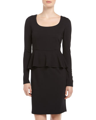 Neiman Marcus Long-Sleeve Ponte Peplum Dress, Black - Neiman Marcus Last Call