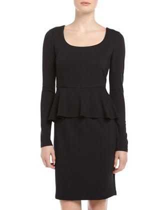 Neiman Marcus Long-Sleeve Ponte Peplum Dress, Black - Neiman Marcus Last Call