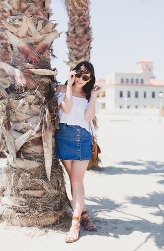 wish wish wish blogger bag sunglasses off the shoulder top white top button up skirt flat sandals peasant top