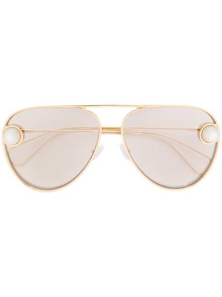Christopher Kane Eyewear - aviator sunglasses - women - metal - 62, Grey, metal in metallic