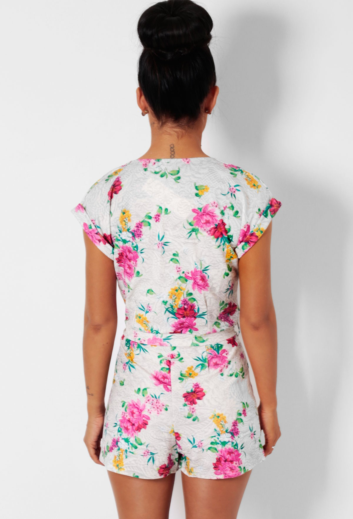 Oriental Off White Floral Wrap Playsuit | Pink Boutique
