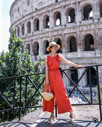 jumpsuit hat tumblr red jumpsuits ruffle sun hat sandals wedges wedge sandals silver sandals shoes