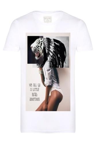 t-shirt white printed t-shirt tiger face eleven paris menswear mens t-shirt