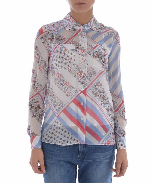 Tommy X GiGi HADID shirt patchwork print top