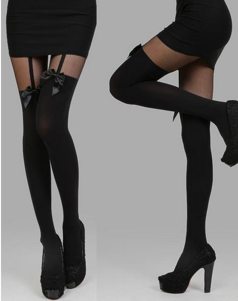 Women girls sexy stockings pantyhose tattoo bow suspender sheer tights black hot