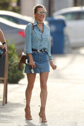 skirt,frayed denim skirt,frayed denim,denim skirt,mini skirt,shirt,denim shirt,blue shirt,sandals,sandal heels,high heel sandals,nude sandals,bag,brown bag,sunglasses,mirrored sunglasses,alessandra ambrosio,model off-duty,model