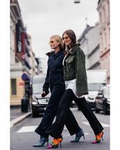 jacket,oversized jacket,wide-leg pants,jumpsuit,sunglasses,high heels boots