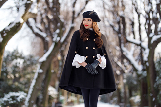 the mysterious girl blogger blouse skirt tights shoes gloves cape beret winter outfits