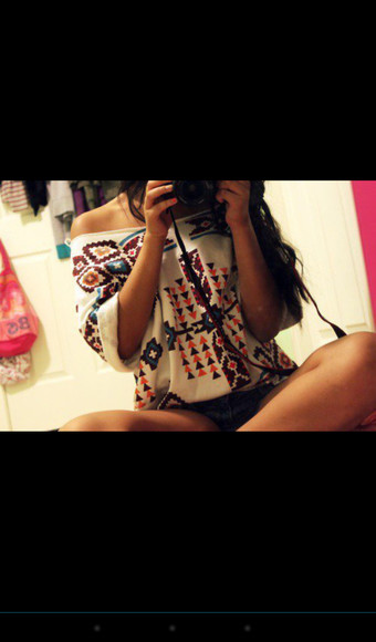 aztec blouse fashion tumblr outfit cute top sweater