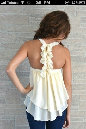 blouse t-shirt shirt pretty style fashion clothes outfit white bows ruffle summer top tank top girly dress