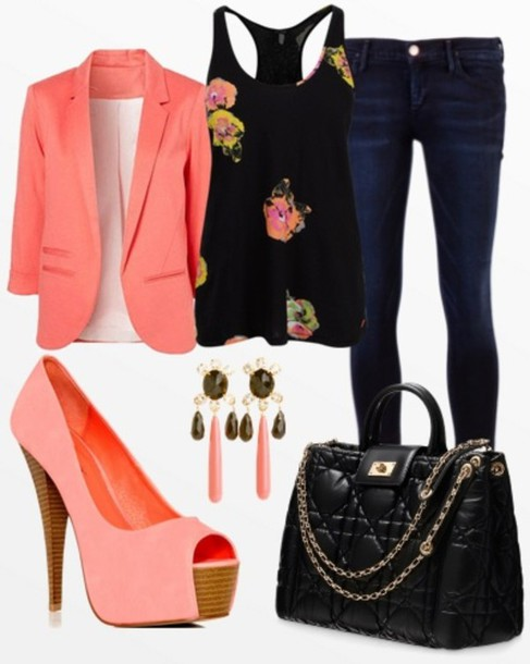 shoes blouse sweater jacket orange peach top coat bag looking for the bag