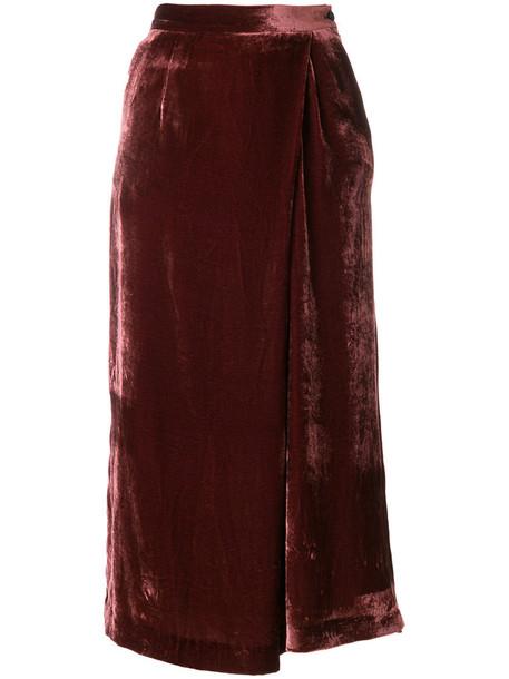 PT01 women silk velvet red pants
