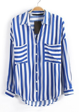 casual blouse stripes pocket