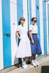 dress,blue dotted skirt,vintage,polka dots,blue and white polka dots,white dress,skirt,blue and white dress