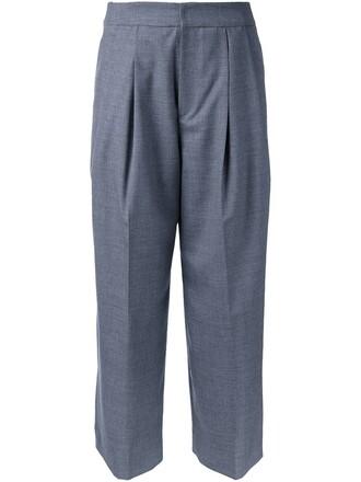 cropped women wool grey pants
