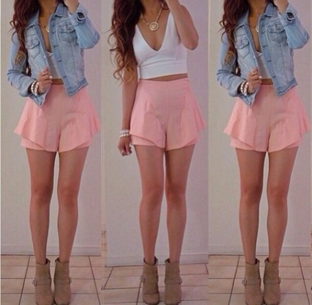 Shirt: high waisted shorts, pink, ruffle, shein - Wheretoget
