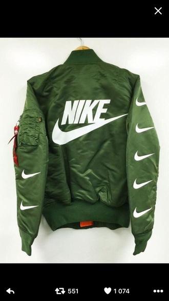 jacket nike green green bomber jacket
