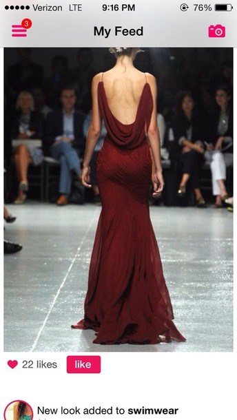 dress red backless dress open back burgundy dress