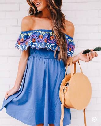 dress tumblr blue dress mini dress embroidered embroidered dress off the shoulder off the shoulder dress bag round bag round tote