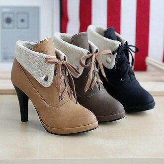 shoes cute lace heels light drown brown shoes medium heels high heels soft
