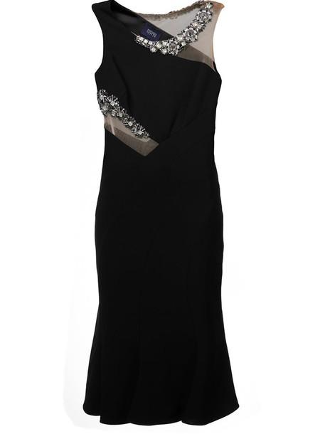 Marchesa Notte dress women spandex embellished black