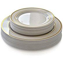 Amazon.com: gold trim plastic plates