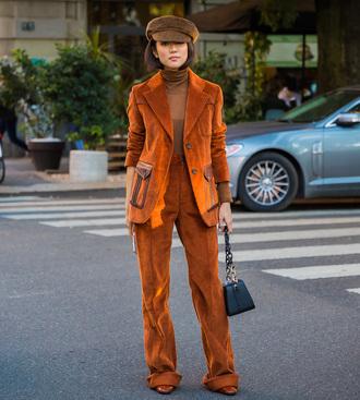pants tumblr wide-leg pants brown pants blazer brown blazer bag hat fisherman cap top turtleneck monochrome monochrome outfit streetstyle