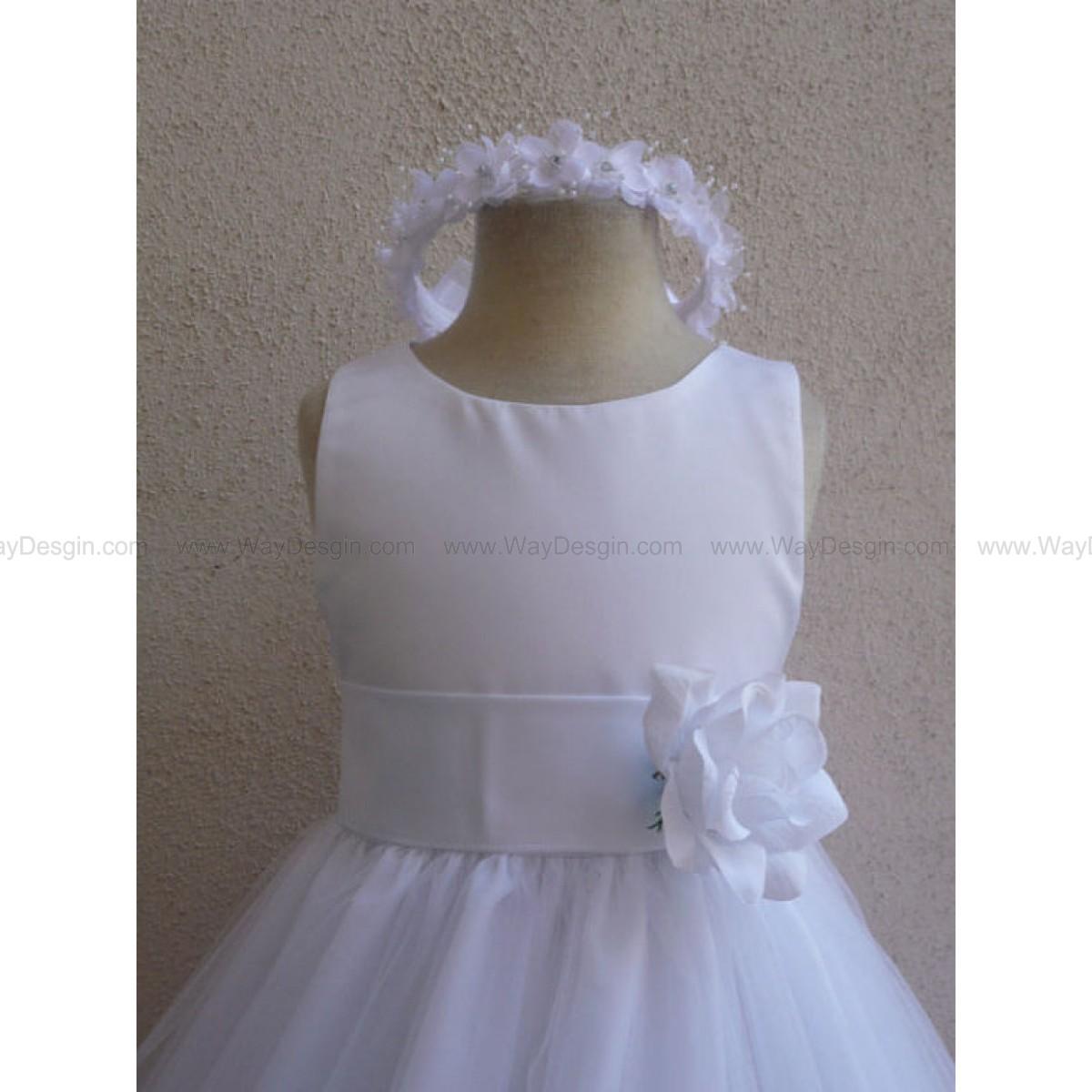 Flower Girl Dress - White Rose Petal Dress with White - Wedding, Easter, Junior Bridesmaid, Formal Girl Dress, Recital