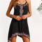 Black keyhole back tribe print asymmetric cami dress