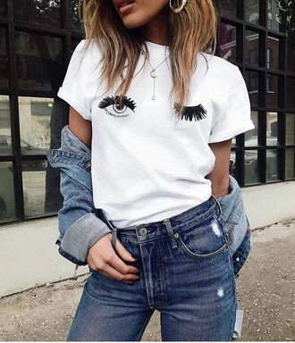 t-shirt eyelashes graphic tee white denim jacket denim ripped jeans