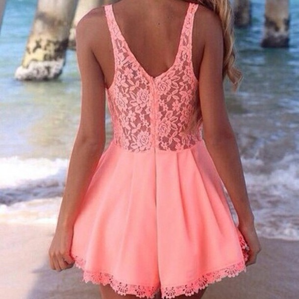 dress lace dress peach dress