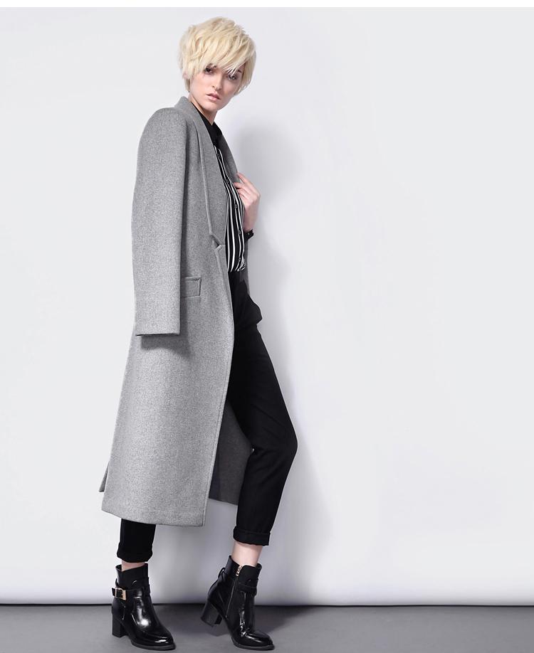 Long Sleeve Notch Lapel Pockets Coat - Sheinside.com