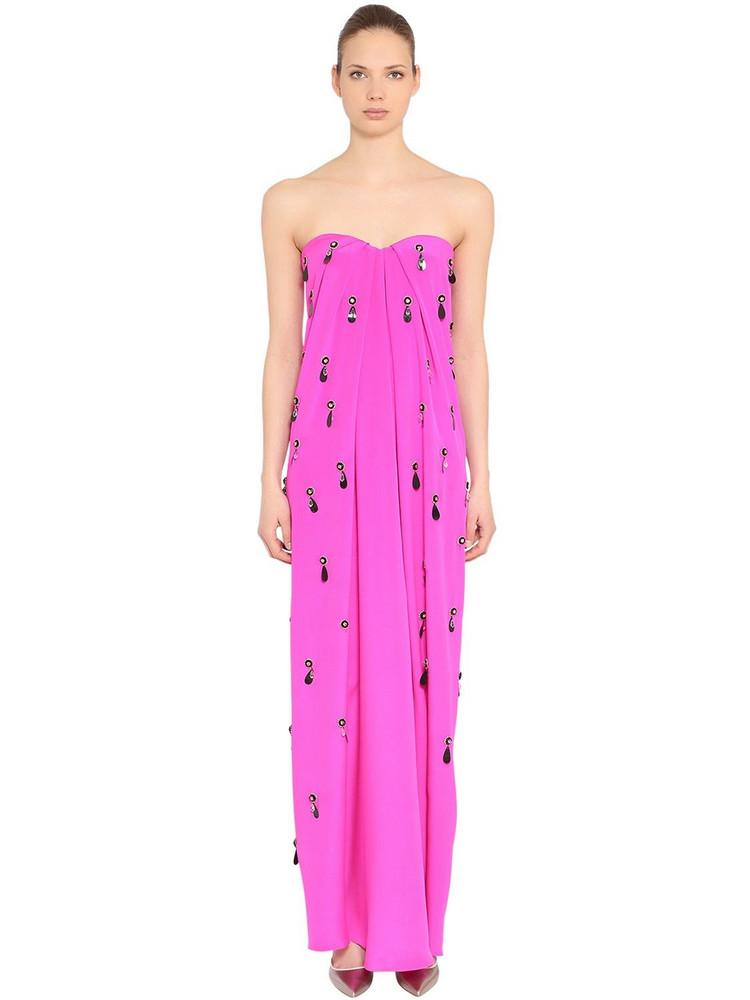 EMILIO PUCCI Embellished Silk Cady Long Dress in fuchsia