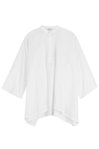 kimono blouse cotton silk white top