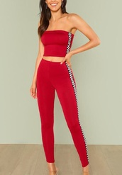 jumpsuit,girly,girl,girly wishlist,red,two-piece,matching set,checkered,racer,crop tops,cropped,crop,bandeau,bandeau top,leggings,black,white