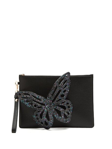 butterfly pouch leather black bag